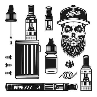 Vape 장치 및 전자 담배 벡터 개체 또는 흰색 배경에 고립 된 빈티지 흑백 스타일의 디자인 요소 집합