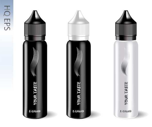 Vape e liquid bottles set. vape jars