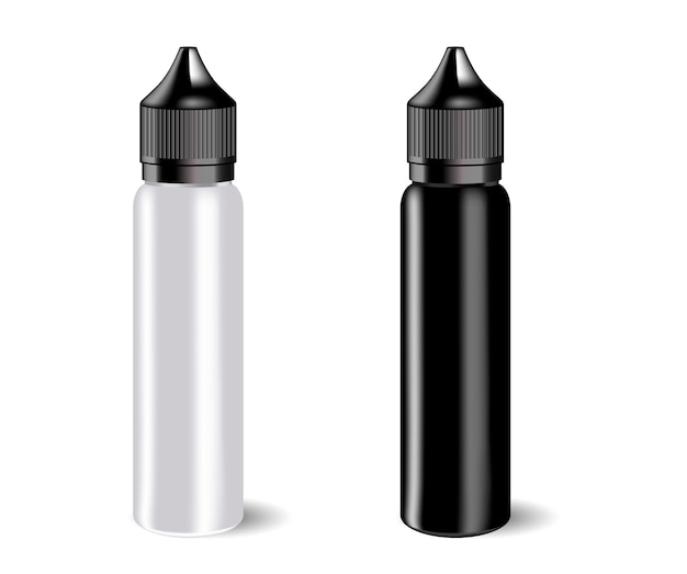 Vape e liquid bottles set with label.