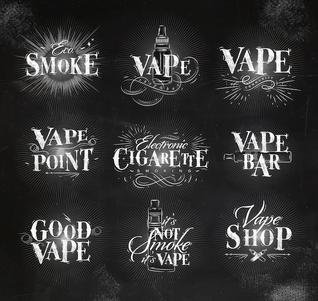 Vape labels in vintage lettering eco smoke, vape bar, its not smoke drawing with chalk