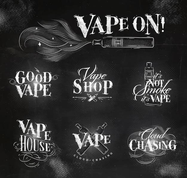Vape labels in vintage style lettering good vape, cloud chasing