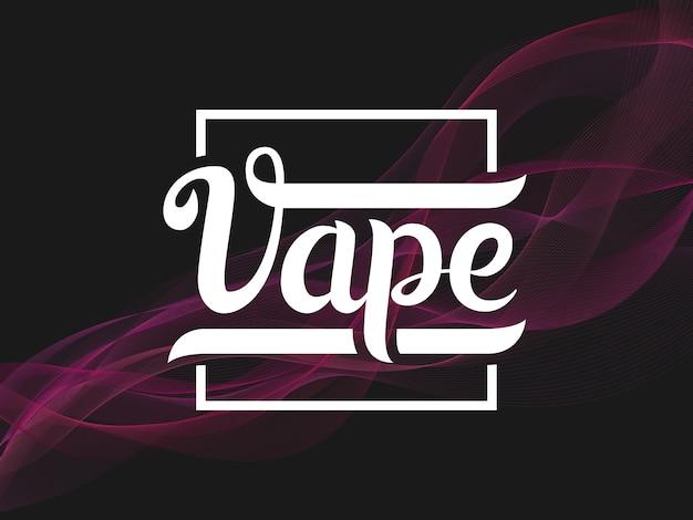 Vape lettering label with purple smoke