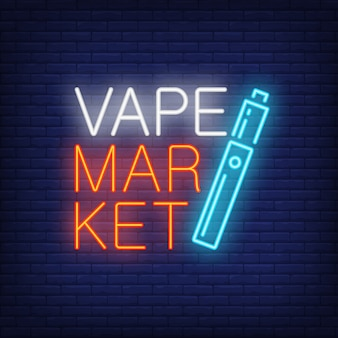 Vape market neon sign. bright blue cigarette on dark brick wall.