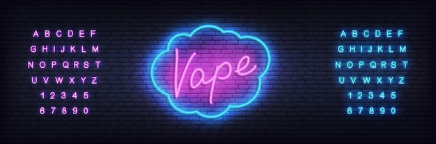 Vape neon template. glowing lettering  vape shop