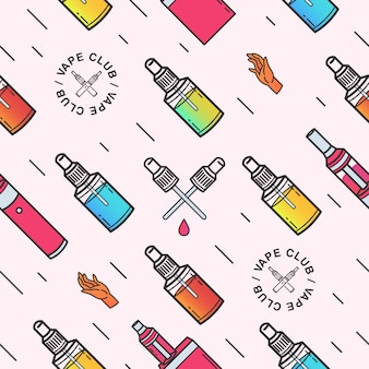 Vape seamless pattern. background with e-cigarettes.