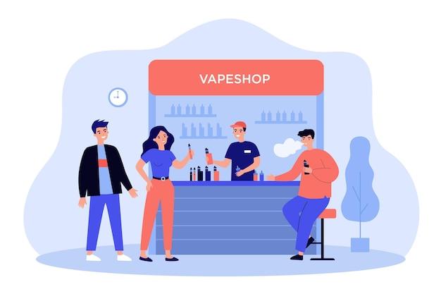 Продавец вейп-шопа продает бутылки из витрины курильщикам