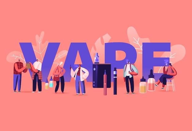 Vape shop 비즈니스 및 흡연 중독 개념. 만화 평면 그림