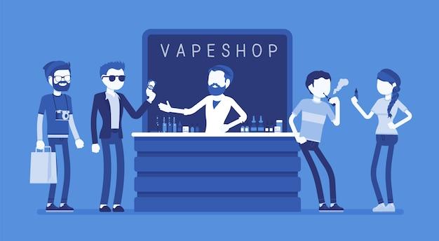 アークショップ事業。電子タバコ製品、eリキッドのセレクションを販売する店内の都会の流行に敏感な人々のグループが、vapingを楽しみ、ニコチンを吸い込みます。顔のないキャラクターのイラスト
