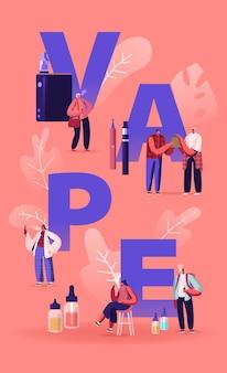 Vape shop business and smoking addiction concept. cartoon flat illustration