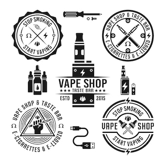 Vape shop and e-cigarette set of monochrome labels and design elements isolated on white background