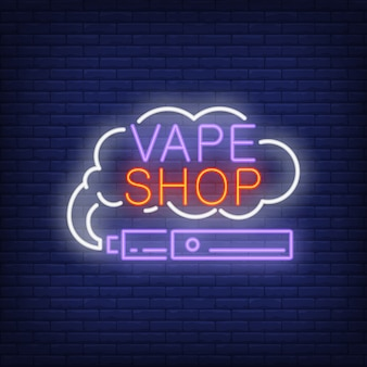Vape shop neon sign. e-cigarette with smoke cloud. night bright advertisement.