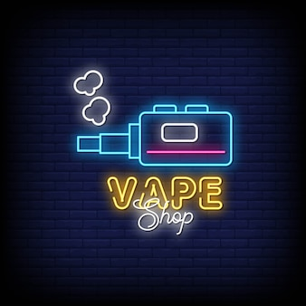 Vape shop neon signs style text