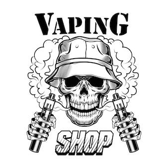 Illustrazione di vettore del negozio di vape. teschio di vaper hipster alla moda con sigarette elettroniche e vapore
