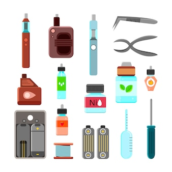 Vaping accessories icons set