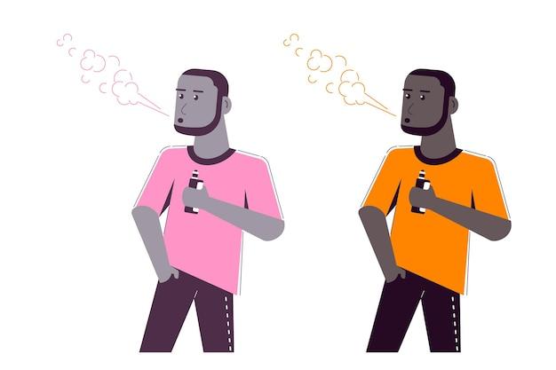 Концепция деятельности vaping. афро-американский мужской персонаж, наслаждаясь vape курить изолированное на белом.