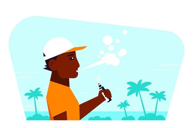 Концепция деятельности vaping. афро-американский персонаж мужского пола, наслаждающийся vape, курить на открытом воздухе.