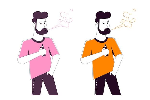 Концепция деятельности vaping. кавказский мужской персонаж, наслаждаясь vape курить изолированное на белом.