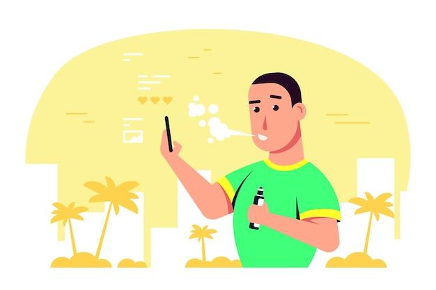 Концепция деятельности vaping. кавказский мужской персонаж, наслаждаясь vape, курить на открытом воздухе.