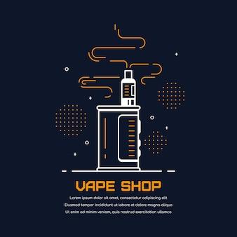 Комплект устройства вейп-бокса и мод. дизайн магазина вейп, изолированные на черном. концепция курения vape.