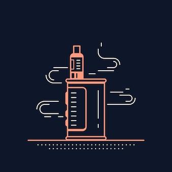 Vaping 상자 장치 키트 및 모드. 블랙에 고립 된 vape 상점 디자인입니다. vape 흡연 개념.