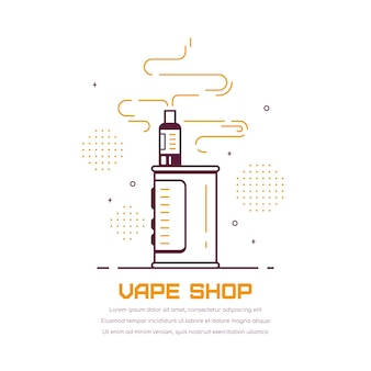Vaping 상자 장치 키트 및 모드. vape 상점 디자인 흰색 절연입니다. vape 흡연 개념.