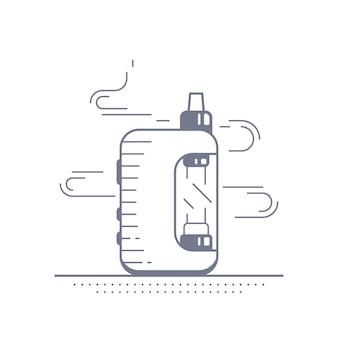 Комплект устройства вейп-бокса и мод. дизайн магазина вейп, изолированные на белом. концепция курения vape.