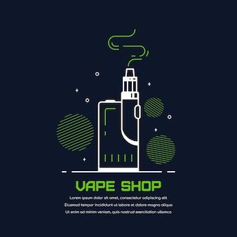 Vaping box device kit and mod. vape shop design isolated on black. vape smoking concept.