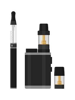 Набор устройств и аксессуаров для вейпинга, изолированных на белой бутылке с испарителем жидкости для вейпинга и зарядным устройством ecigarette