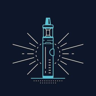 Комплект и мод. дизайн магазина вейп, изолированные на черном. концепция курения vape.