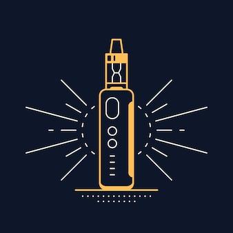 Vaping 펜 장치 키트 및 모드. 블랙에 고립 된 vape 상점 디자인입니다. vape 흡연 개념.