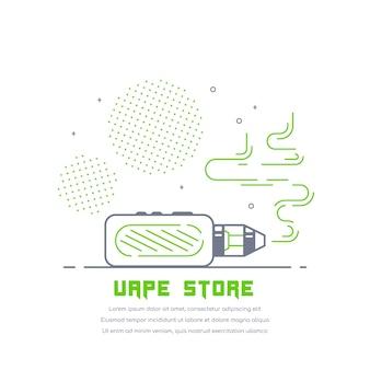 Комплект и мод. дизайн магазина вейп, изолированные на белом. концепция курения vape.