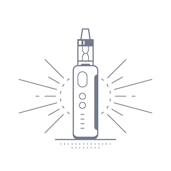 Vaping 펜 장치 키트 및 모드. vape 상점 디자인 흰색 절연입니다. vape 흡연 개념.