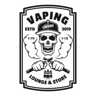 Вейпинг магазин вектор монохромный квадратный герб, значок, этикетка или логотип с черепом и пара электронных сигарет, изолированные на белом фоне