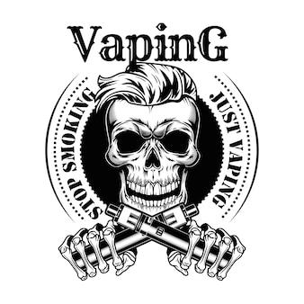 Vaping 해골 벡터 일러스트입니다. 니코틴 무료 담배, 스탬프 및 금연 텍스트가있는 트렌디 한 힙 스터 수염 문자
