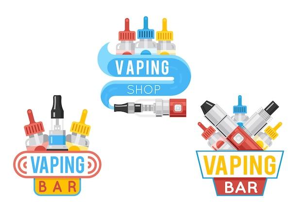 증기 바 평면 로고 및 vape 상점 평면 레이블 또는 전자 담배 상점 엠블럼 세트.