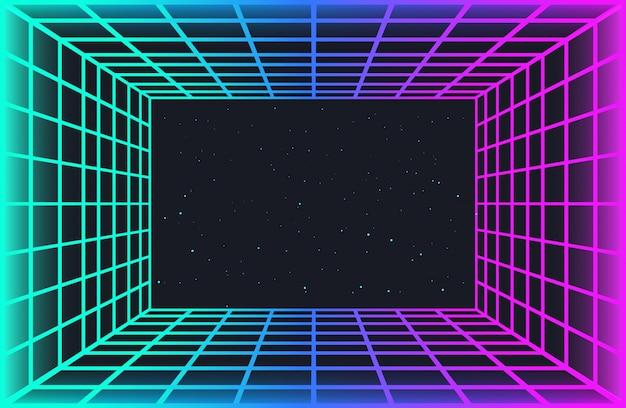 Vaporwave ретро футуристический фон. абстрактный лазерная сетка туннель в неоновых тонах с эффектом свечения. ночное небо со звездами. обои для киберпанк-вечеринки, музыкальный плакат, хакатон, встреча.