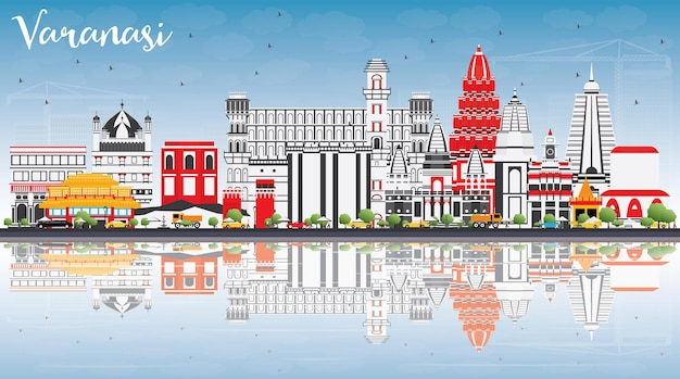 Varanasi skyline with color buildings blue sky and reflections vector illustration