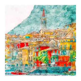 Varenna lake como 이탈리아 수채화 스케치 손으로 그린 그림