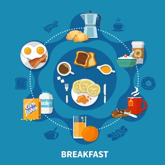 Variants of dishes and drinks for tasty breakfast colorful concept on blue background flat