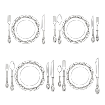 Variations of cutlery arrangement set illustration. restaurant with fork and spoon, cutlery silverware line style