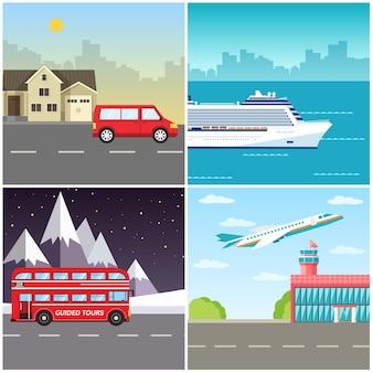 旅行ツアーインフォグラフィックのバリエーション輸送