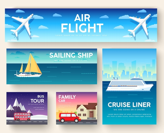 Variations of transport travel leisure infographics