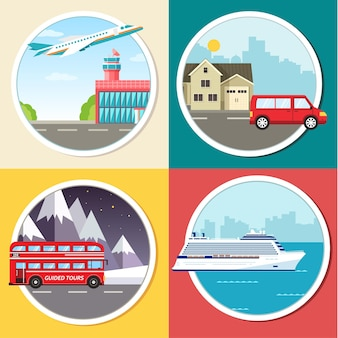 Variations transport of travel tour infographic