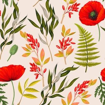 잡색의 초원 꽃과 녹지 벡터 원활한 배경