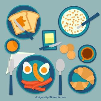 テーブルの上に種類豊富な朝食