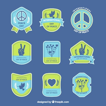 Varied collection of peace labels