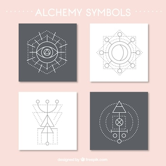 Variety of abstract alchemy symbols card