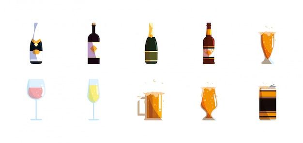 Разнообразие алкогольных напитков набор пакет векторный дизайн