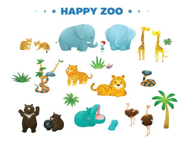 Variety animal in happy zoo cartoon