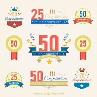 Variety of anniversary badges